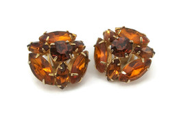 Vintage Topaz Colored Rhinestone Clip On Earrings  Gold Tone & Amber Colored - $15.95