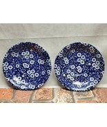 "2 Staffordshire Calico Blue Pattern england saucer Plate 6 1/2"" - $21.78"