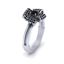 Round Cut 0.40cttw Black Diamond Bow Engagement Ring Womens Solid 18k White Gold - $1,129.99