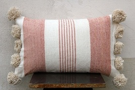 Chenille Peach Color Pillow Cover with Pom Pom Living room Pillows Couch... - £22.90 GBP