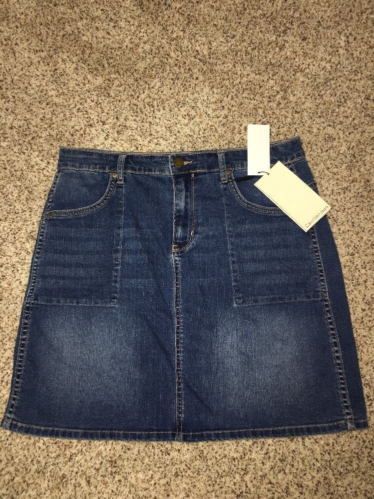 Primary image for Calvin Klein Jean Skirt Womens Size 32 Length 18 Inches Bardot Blue NWT $79.5
