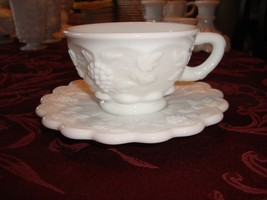 Vintage Westmoreland Paneled Grape White Milk Glass Cup And Saucer Mint W Emblem - $8.99