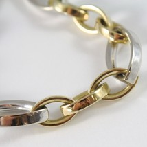 Bracelet Solid Yellow Gold White 750 18K with Ovals Alternating, 21 CM image 2