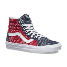 Vans SK8 Hi Reissue Ditsy Bandana Chili Pepper Skate Shoes Womens Size 9.5 - $54.95