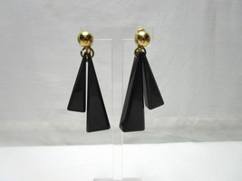 Vintage Napier Chunky Earrings Plastic Dangle Screw Back Gold Ball 80's - $14.25