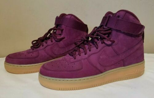 NIKE AIR FORCE 1 HIGH TOP BORDEAUX GRADE SCHOOL SNEAKER 7Y Women 8.5 922066-600
