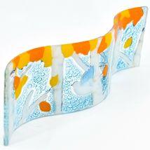 Fused Art Glass Bluebird Fall Aspen Tree Wavy Decor Sun Catcher Handmade Ecuador image 3