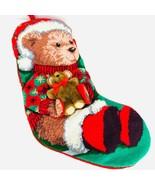 Needlepoint Christmas Stocking Teddy Bear with Bear Embellished Santa Hat  - $59.39