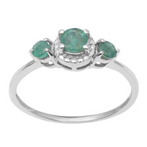 Emerald Cut Round Gemstone 925 Sterling Silver Wedding Ring Size 7 SHRI1090 - €15,81 EUR