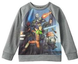 NEW $30 Boys Disney Star Wars Rebels Gray Long Sleeve Crew Sweatshirt-sz... - $16.83