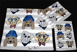 3 DOG DOGGIE DRESS-UP Woof Hats Ties Glasses Velour Bath Hand Fingertip ... - $40.99
