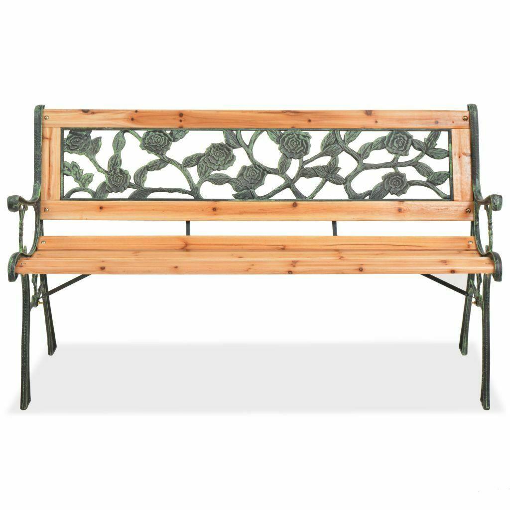 vidaXL Patio Wooden Garden Bench w/ Backrest Vintage Seat Diamond/Rose Design image 3