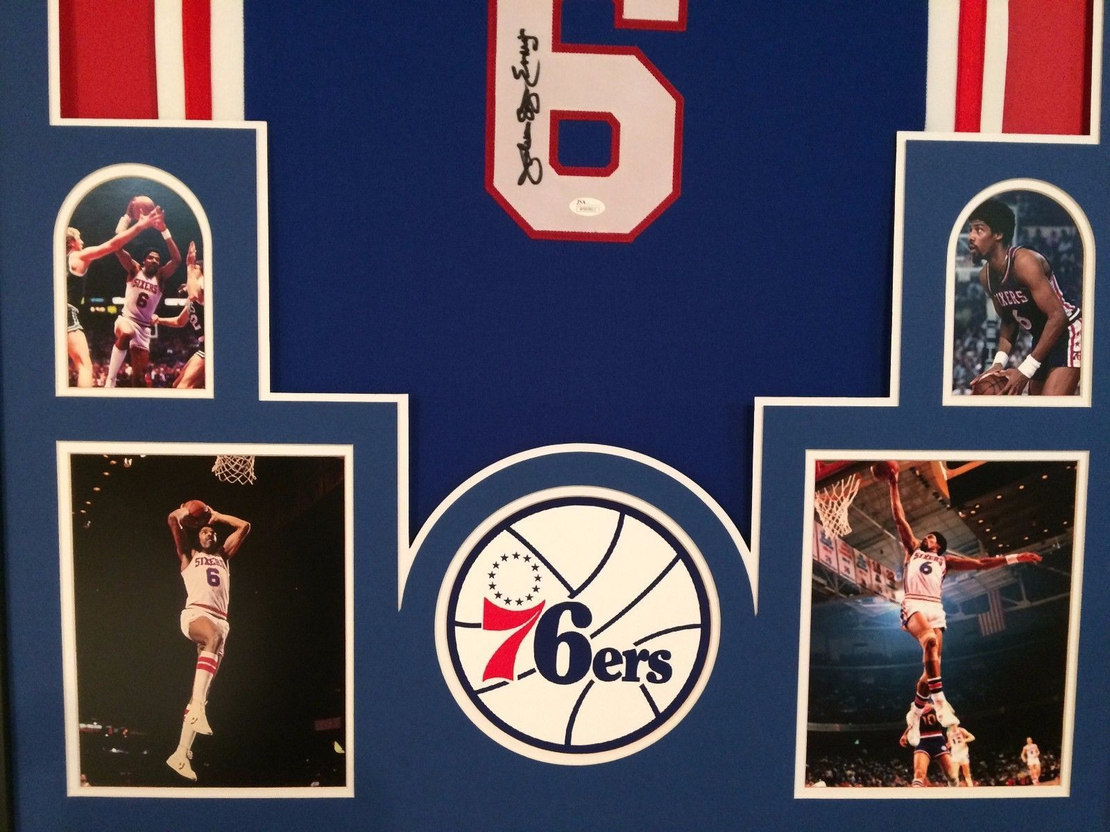 FRAMED JULIUS ERVING DR. J SIGNED PHILADELPHIA 76ERS JERSEY JSA W AUTHENTICATED