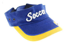 Sun Visor Hat Soccer Mom Dad Coach Embroidered Blue Yellow Adjustable St... - $9.89