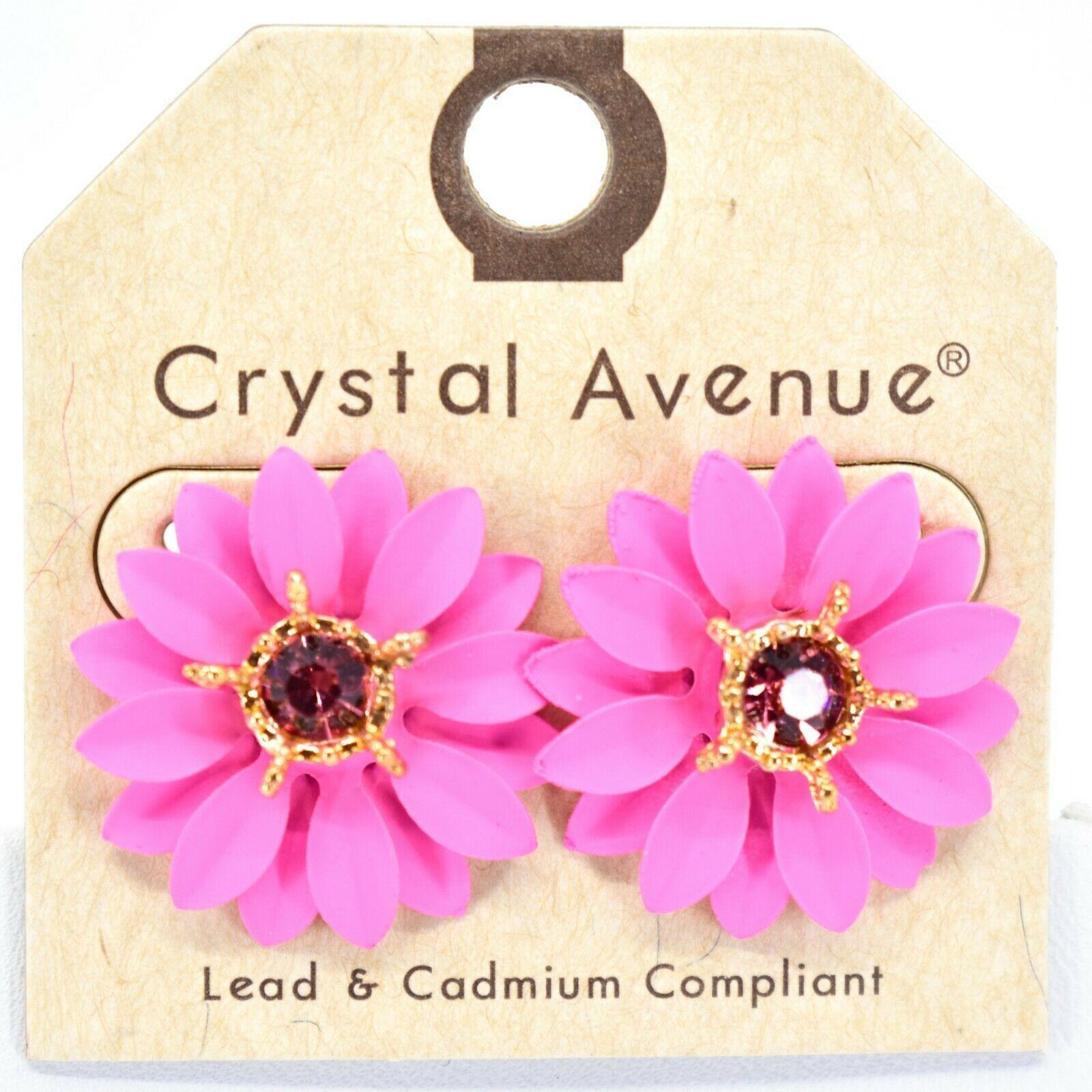Crystal Avenue Hot Pink Colorful Layered Petal Spring Flower Metal Post Earrings