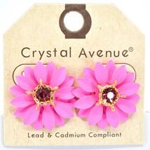 Crystal Avenue Hot Pink Colorful Layered Petal Spring Flower Metal Post Earrings image 1