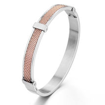 Men's Women's Stainless Steel Bracelet Mesh Cuff Bangle Rose Gold 8mm - $24.50