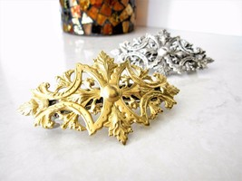 Gold or silver metal filigree with leaves hair clip barrette - $19.95