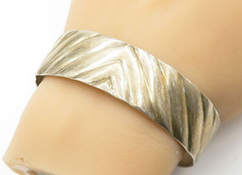925 Sterling Silver - Vintage Linear Etched Shiny Wide Cuff Bracelet - B... - $70.98