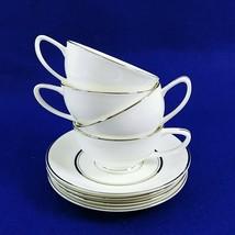 Cup Saucer Set Imperial Fukagawa Bone China Silver Trim 4 Cups 4 Saucers... - $79.15