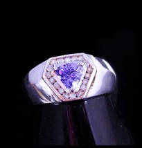 18 Diamonds Ring / Trillion cut Amethyst / Vintage mans or womans band /... - $325.00