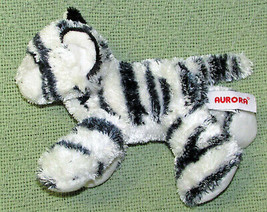 "Aurora World Mini Flopsies 6"" White Tiger B EAN Bag Stuffed Animal Black Stripes - $9.90"