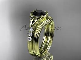 Black Diamond Celtic wedding sets,14k yellow gold diamond triquetra knot CT7333S - $1,695.00