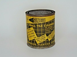 """Sunbeam Wall Tile Cleaner tin Atomic with contents Vintage old 4"""" tall  ... - $14.84"""