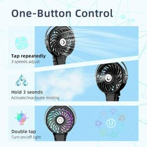 Handheld Misting Fan-Battery Operated-Foldable with Colorful LED Nightlights image 2