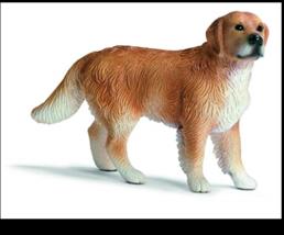 GOLDEN RETRIEVER DOG FIGURINE GOLD BROWN TAN WHITE PET SCHLEICH TOY - $5.95