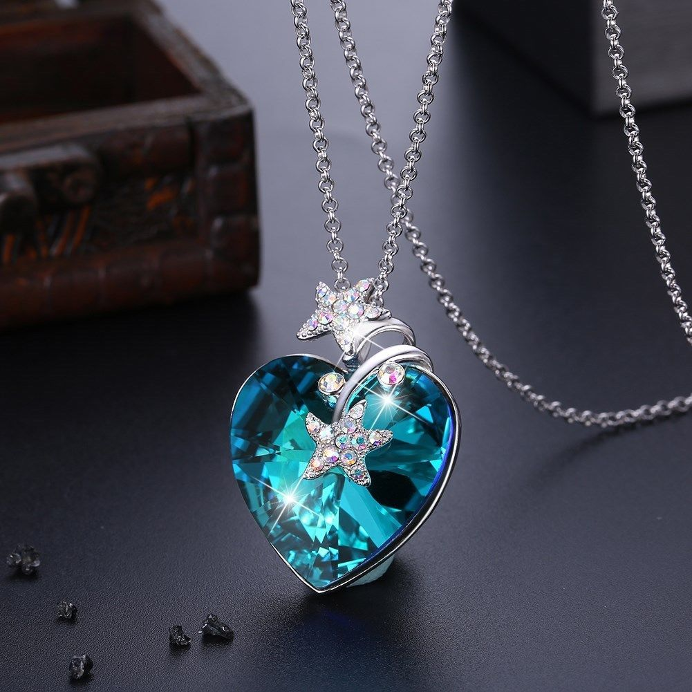 Womens Infinity Love Heart Made with Swarovski Elements Crystal Pendant image 2