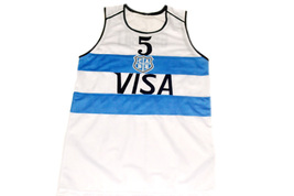 Manu Ginobili #5 Argentina Visa Men Basketball Jersey White Any Size image 4
