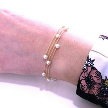18K ROSE GOLD MAGICWIRE BANGLE BRACELET, ELASTIC WORKED MULTI WIRES PINK PEARLS image 3