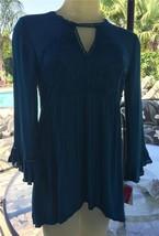 New Gorgeous Long Sleeve Macrame Bodice Hi Low Turquoise Shirt Sz. S   3... - $24.74