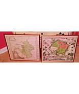 Antique German Maps Framed Gold Wood Frames w Glass Writing Printed In L... - $68.31