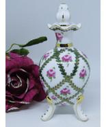 SEVRES GREEN VINE TRELLIS PORCELAIN ROSE PERFUME BOTTLE - $13.99