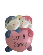 Ceramic Ornament Couple with Valentine Heart Lee & Sandy Christmas Valen... - $11.30