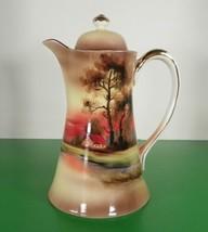 Noritake Morimura Demitasse Coffee Pot with Lid House and Tree Orange Su... - $74.20