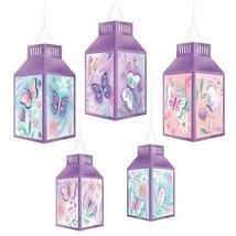 Butterfly Party LANTERNS DEcoration 5PCS Purple FLORAL BIRTHDAY Flutter ... - $14.80