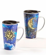 Set of 2 Celestial Design Ceramic Travel Mugs Sun Moon 16 oz