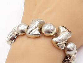 MEXICO 925 Sterling Silver - Vintage Shiny Chunky Pattern Chain Bracelet... - $154.84