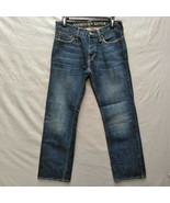 American Eagle Straight Leg Mens Jeans  29 x 29 Dark Distressed Wash But... - $17.81