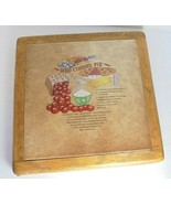 Vintage Wooden Bread Board Cutting Board Hand Painted Red Cherry Pie Recipe - $14.21