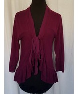 Guinevere Burgundy Cardigan Sweater Tie Closure Ruffle Hem 3/4 Sleeve Si... - $38.43