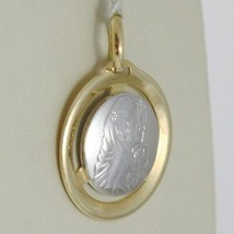 Pendant Medal Gold Yellow White 750 18K, Madonna and Christ, Mary and Jesus image 2