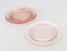 Fostoria Fairfax Rose Pink Salad Plates 4 pc Set, Vintage Elegant Glass ... - $19.60