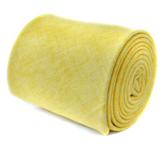 Frederick Thomas Designer Linen Mens Tie - Lemon Yellow - Plain Skinny T... - $15.02