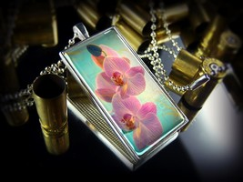 Beautiful Pink Blooming Orchid Flower Sterling Silver Glass Floral Necklace - $18.89