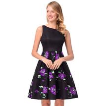 AOVEI Purple Rose Print Black Vest 1950s A Line Beach Party Cute Pleated Dress - $24.99