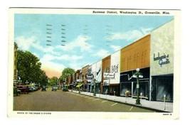 Washington Street Greenville Mississippi Postcard 1949 Business District - $17.80